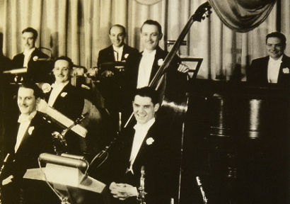 Image of Art Ralston, Jack Blanchette, Tony Briglia, Kenny Sargent, Stan Dennis and Howard Hall at the Colonnades Room, Essex House Hotel, New York City, 1934.
