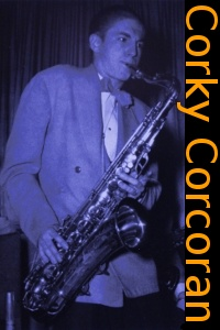 Image of Corky Corcoran playing saxophone.