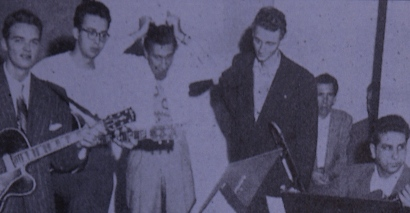 Image of Arv Garrison, Barney Kessel, Ralph Bass, Earle Spencer, unknown, Tony Rizzi taken in Hollywood, late October 1946.