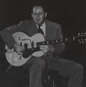 Image of Les Paul taken at Jazz at the Philharmonic, July 1944.
