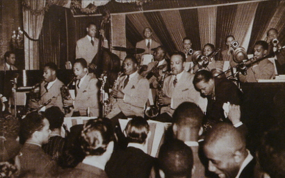 Image of The Teddy Wilson Orchestra at the Golden Gate Ballroom, Harlem 1939.